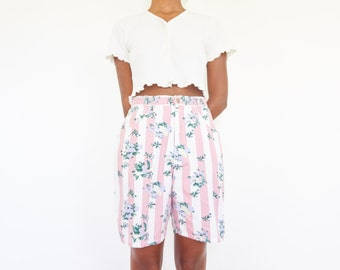 80s Pastel Striped Floral Jean Shorts / 26 Waist