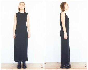 90s Minimal Sleeveless Black Maxi Dress