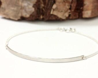 Long curved sterling silver bar bracelet - sleek bar bracelet