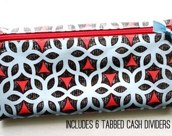 Envelope system cash budget wallet with 6 tabbed dividers | ice blue, watermelon pink, black designer laminated cotton