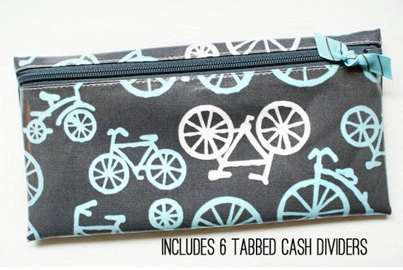 Money envelope wallet with 6 tabbed dividers | aqua & white bicycles on gray designer laminated cotton