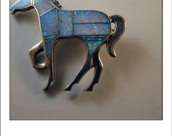 Vintage Sterling Opal Horse Equestrian Pin Brooch