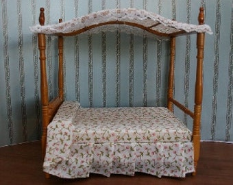 Dolls House Miniature Canopy Bed in Walnut