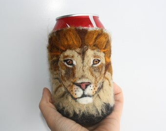 lion can cozy needle felted