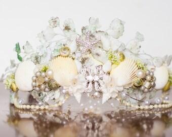 Mermaid Crown - Wire Crown - Mermaid Hairpiece - Flowergirl hairpiece - Beach Wedding - Newborn Prop - Wedding Crown - Floral Hairpiece