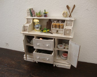dollhouse miniature furniture in walnut wood. decorated white shabby chic