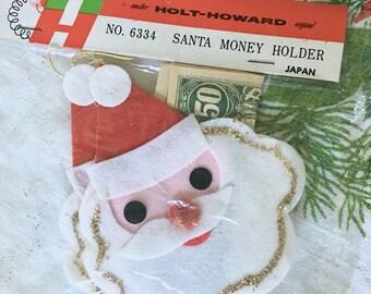 Vintage Holt Howard Felt Santa Money Holder Christmas Ornament, New in Package, Midcentury Kitsch Xmas Decoration