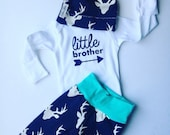 Newborn baby deer going home set /little brother coming home outfit/aqua and navy deer little brother set