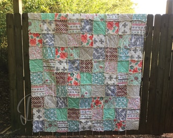 Queen Size Rag Quilt - ReCollection Katarina Roccella - Coral - Mint - Gray - Modern Handmade Bedding