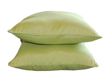 Two 26 x 26 Custom  Decorative Pillow Euro Covers   for Indoor/Outdoor - Sunbrella Spectrum Kiwi