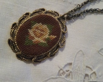 Vintage Floral Necklace Embroidered Cameo Jewelry Mirror Victorian