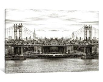 iCanvas New York Reflection - Manhattan Bridge Gallery Wrapped Canvas Art Print by Philippe Hugonnar