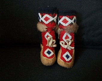 Vintage 1966 Candian Doll Beaded Boots