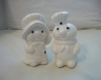 Vintage Pillsbury Dough Boy And Girl Salt And Peppers Shakers