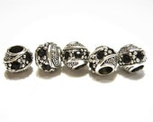 5 Fancy Barrel Spacers with BLACK, Czech Crystals, Tibetan /  Antique Silver  European Style, Beads for Bracelets, Euro