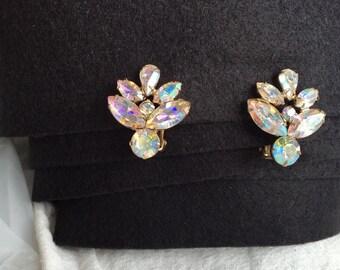 Aurora borealis earrings vintage rhinestones large floral brilliant wedding bridal evening formal