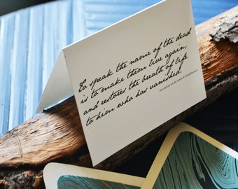 King Tut Quote - Sympathy - Loss - Single Blank Card - Turquoise, Gold, and Black Marble Handmade Paper Lined Envelope