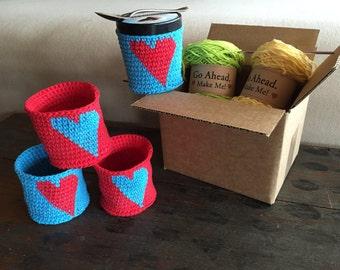 DIY Kit Pint Ice Cream Heart Crocheted Cozy - Kit makes 4 cozies
