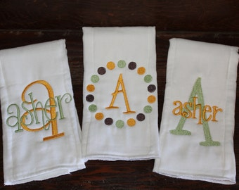 Set of three monogrammed/appliqued burp cloths-baby boy baby girl gift-baby shower-hospital-coming home gift-personalized-unique-blue, brown