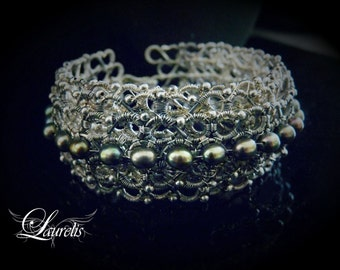 Sterling silver filigree pearl cuff bracelet-OOAK, silver, grey, river pearls, olive green, flash. Gothic, romantic, gentle