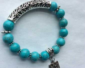 Let Go Let God Blue Turquoise Stretch Bracelet