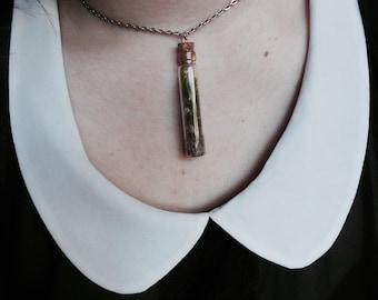 Tiny moss terrarium glass vial Eco system necklace; nature necklace; mother nature necklace; adventure; wonderlust; flower necklace