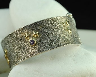 Stars Tourmaline & Amethyst Bracelet - Solid Sterling Silver with 14K Gold - FREE Shipping