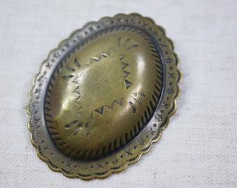Belt Buckle Vintage Brass Native American Design Belt Buckle Hand Stamped