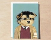 Stewart - Greeting Card - Blank Inside - Dogs In Clothes