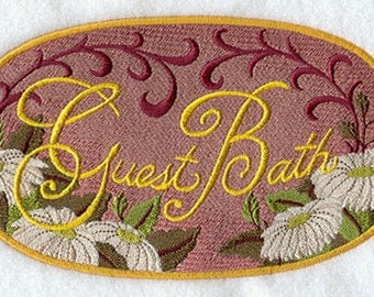 """Decorative Machine Embroidered """"Guest"""" Hand Towel"""