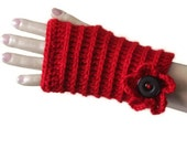 Red Fingerless Gloves - Stylish Gloves -  Sexy Mitten For Elegance Women
