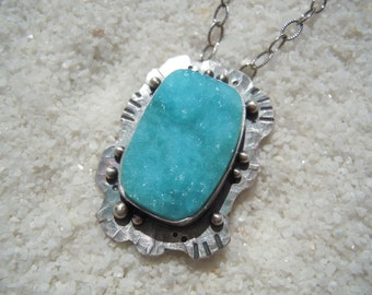 Hemimorphite jewelry Artisan jewelry Blue stone sea pendant