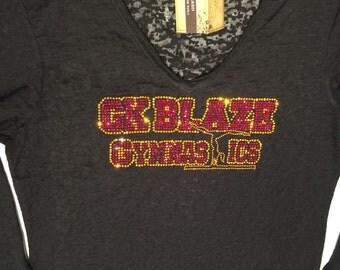 Bling GK Blaze Gymnastics Custom Rhinestone Shirt