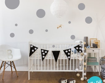 17 Dots - Assorted Size Peel and Stick Gray Polka Dot Wall Decals | 2 inch to 12 inch