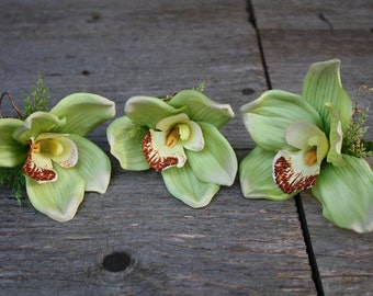 Cymbidium Orchid Boutonniere - Faux Orchid - Green - Wedding Flowers - Silk Bout