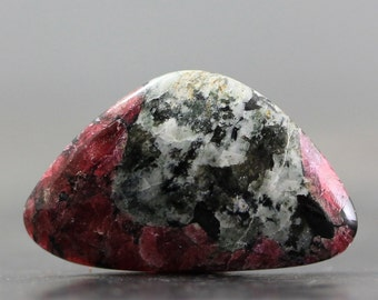 Eudialyte Gemstone Cabochon - Jewelry Lessons, Tutorial Cabs for Setting, Beading Ruby Red Inclusions, Natural Rock Matrix (CA6105)