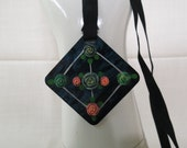 Antique Celluloid Necklace Pendant Applied Roses Hand Painted Details Black Grosgrain Ribbon