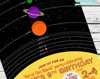 Retro Solar System Birthday Invitation + Thank You Note