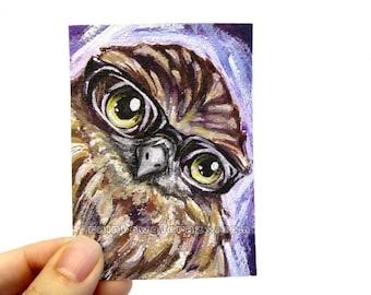 Cute Owl Art, Any Size, Bird Decor, Baby Animal Lover Gift, Black Glasses, Large Print, Woodland Nursery Room Art, ACEO Card