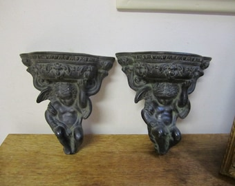 Pair of Cherub Wall Sconces. Angelic Sconce. Wall Decor. Angel Wall Art. Ceralon Cherub Sconces. Shabby Angelic Wall Sconces.