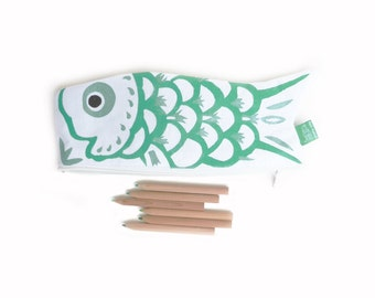 Koinobori Japanese carp koi fish green and silver hand painted fabric - handmade back to school pencil case zipped pouch