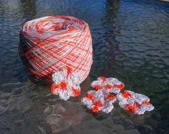 Crochet Cotton - Size 10 - Hand Dyed - Tangerine II - HDT - Sample Sizes - 10, 25 or 50 Yards
