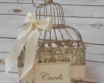 15% OFF SALE Small Wedding Birdcage Card Box / Wedding Card Holder / Wedding Card Box / Wedding Birdcage / Wedding Decor / Gold Birdcage / W