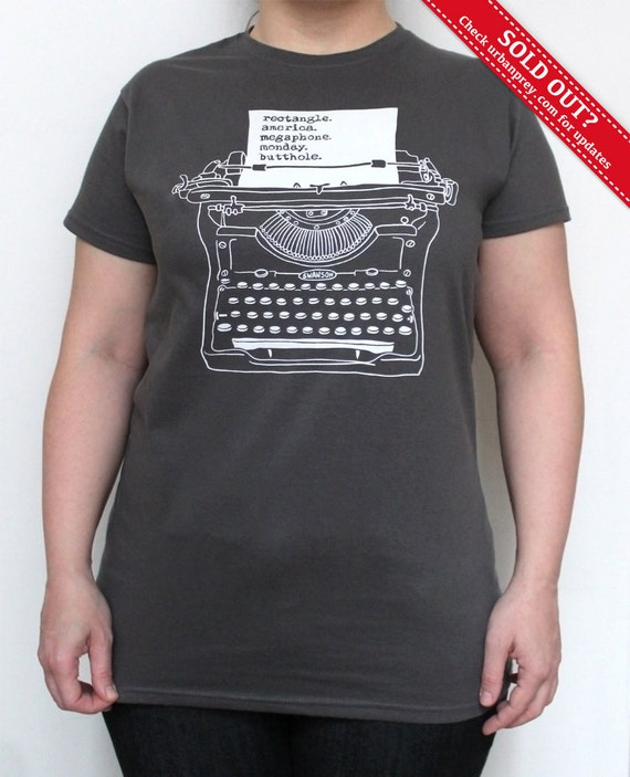 Ron Swanson Typewriter T-shirt Screenprint Ladies, Parks & Recreation, only size S left
