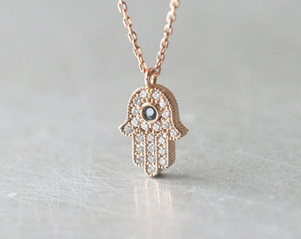 Sapphire Blue Rose Gold Hamsa Hand Evil Eye Necklace in Sterling Silver - Rose GOld jewelry