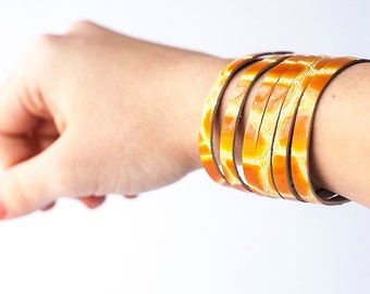 Leather Bracelet / Original Sliced Cuff / Honey Croc