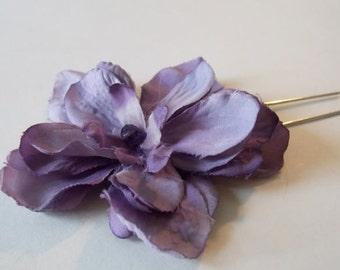 Purple Hair Flower Bridesmaid Purple Hair Accessory Eggplant Flower Hair Pin Purple Wedding Bridal Wedding Accessories For Hair Bridal Party