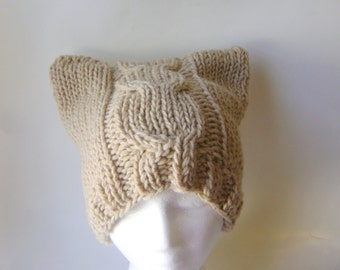 Cable Knit Chunky Beanie in Beige