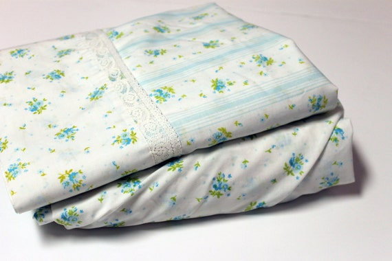 Vintage Blue Floral Bed Sheet SET