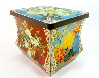 SALE! Vintage Retro Tin, Sharp's Toffees Floral Spring Flowers Chest/Trunk Lidded Confectionery Casket 1950s